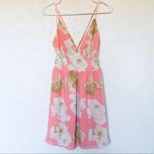 Pink Floral Strappy Open Back Spring Dress